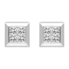 18ct White Gold 0.20ct Diamond Princess Cut Square Stud Earrings
