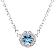 00176871 W Hamond 18ct White Gold 0.25ct Aquamarine Diamond Halo Necklace FEU-2035