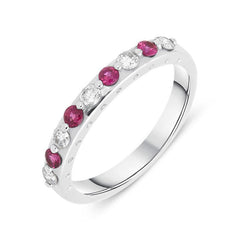 18ct White Gold 0.23ct Ruby Diamond Half Eternity Ring