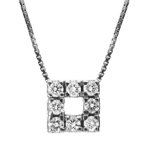 18ct White Gold 0.24ct Diamond Square Pendant Necklace