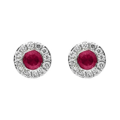 18ct White Gold 0.27ct Ruby Diamond Round Stud Earrings