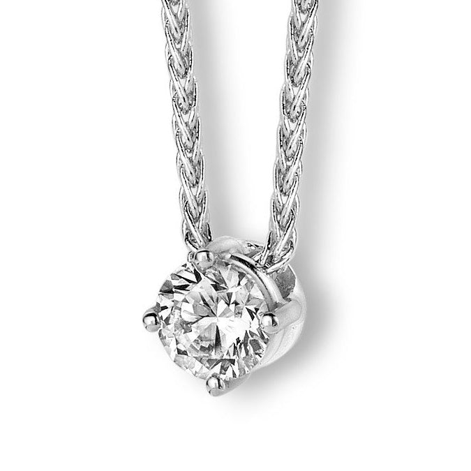 18ct White Gold 0.30ct Diamond Solitaire Necklace