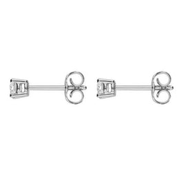 W Hamond 18ct White Gold  0.30ct Diamond Solitaire Princess Cut Stud Earrings. E2110.