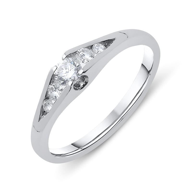 18ct White Gold 0.32ct Diamond Graduating Ring