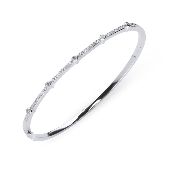 00160998 W Hamond 18ct White Gold 0.35ct Diamond Hinged Bangle, B1121.