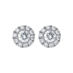 18ct White Gold 0.37ct Diamond Halo Stud Earrings