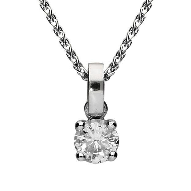 18ct White Gold 0.38 Carat Diamond Solitaire Pendant Necklace