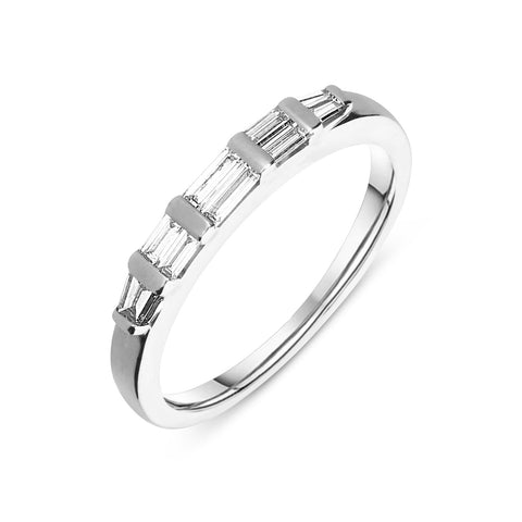 18ct White Gold 0.40ct Diamond Baguette Cut Half Eternity Ring