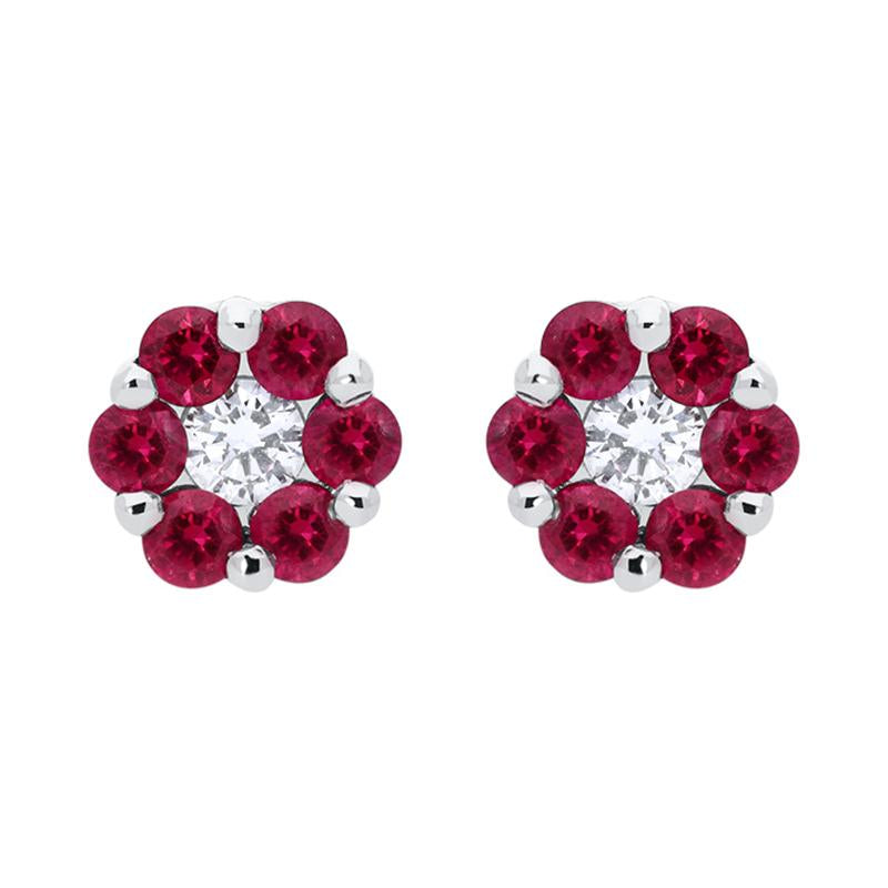 18ct White Gold 0.41ct Ruby Diamond Floral Cluster Earrings