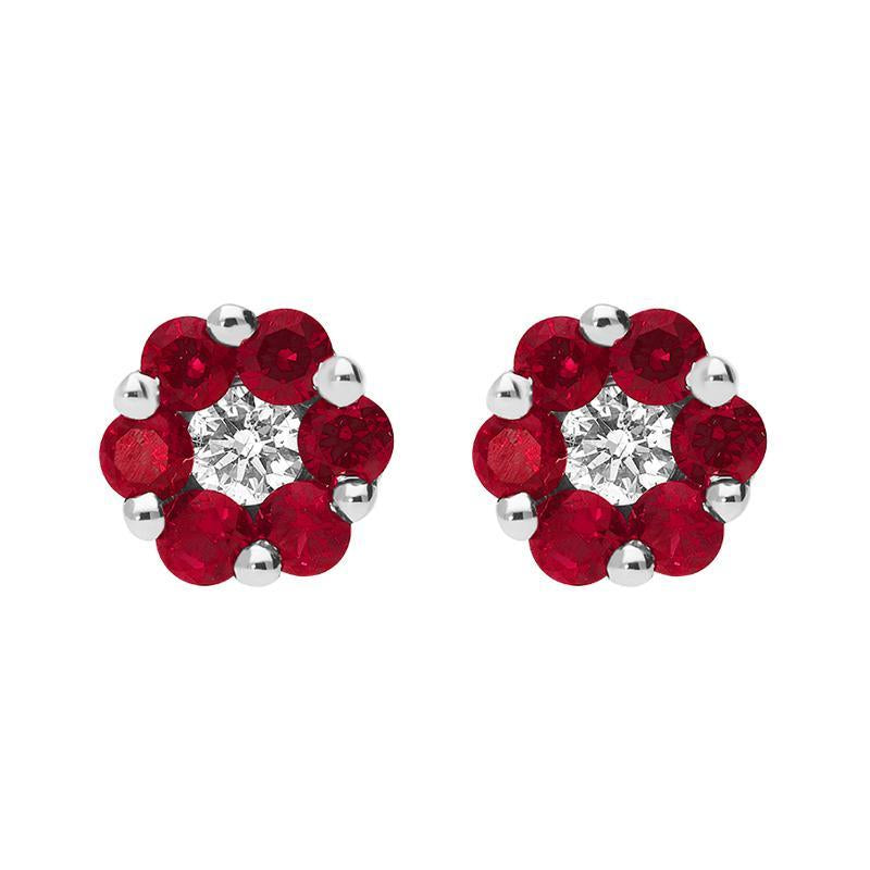 18ct White Gold 0.42ct Ruby Diamond Cluster Earrings