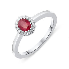 18ct White Gold 0.42ct Ruby Diamond Halo Ring