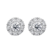 18ct White Gold 0.44ct Diamond Halo Stud Earrings, ATD-154