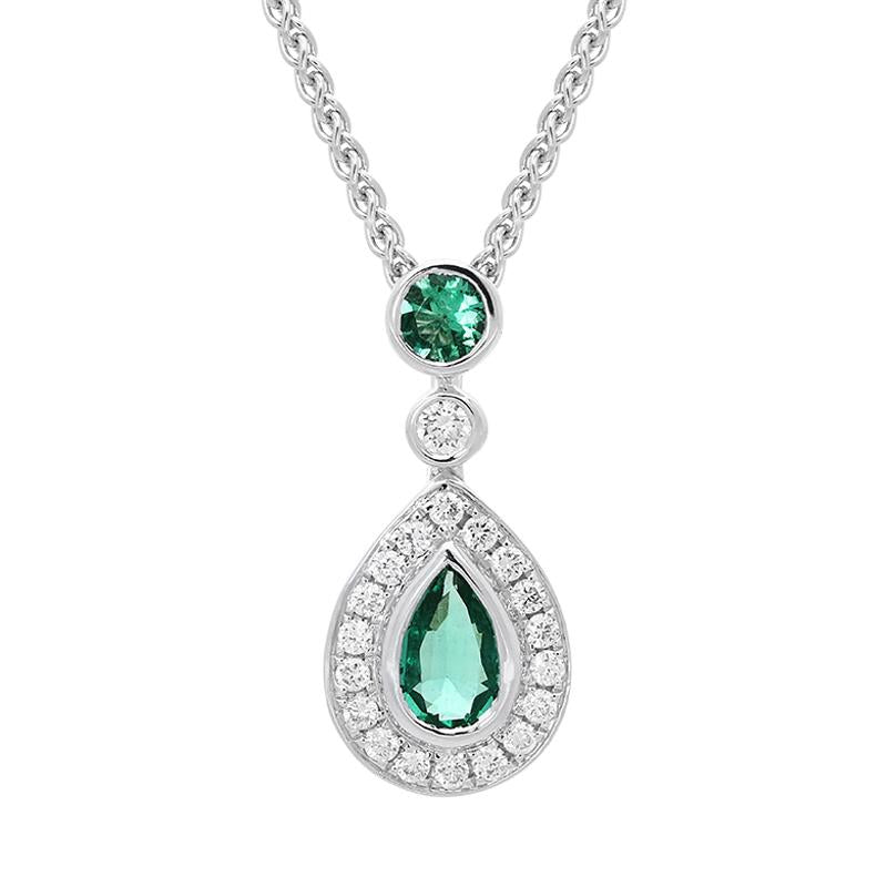 18ct White Gold 0.44ct Emerald Diamond Pear Drop Necklace