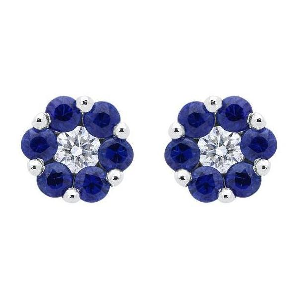 18ct White Gold 0.46ct Sapphire Diamond Floral Cluster Earrings