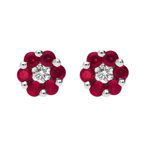 18ct White Gold 0.47ct Ruby Diamond Cluster Earrings
