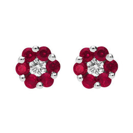 00077102 W Hamond 18ct White Gold 0.47ct Ruby 0.11ct Diamond Cluster Earrings, 03-13-110.