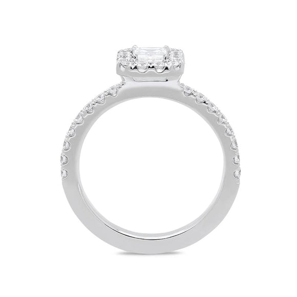 18ct White Gold 0.50ct Diamond Emerald Cut Halo Ring BLC-076