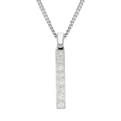 18ct White Gold 0.50ct Diamond Princess Cut Bar Necklace