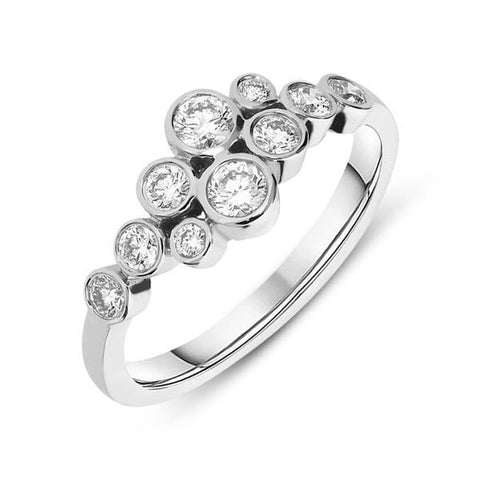 18ct White Gold 0.51ct Diamond Bubble Ring