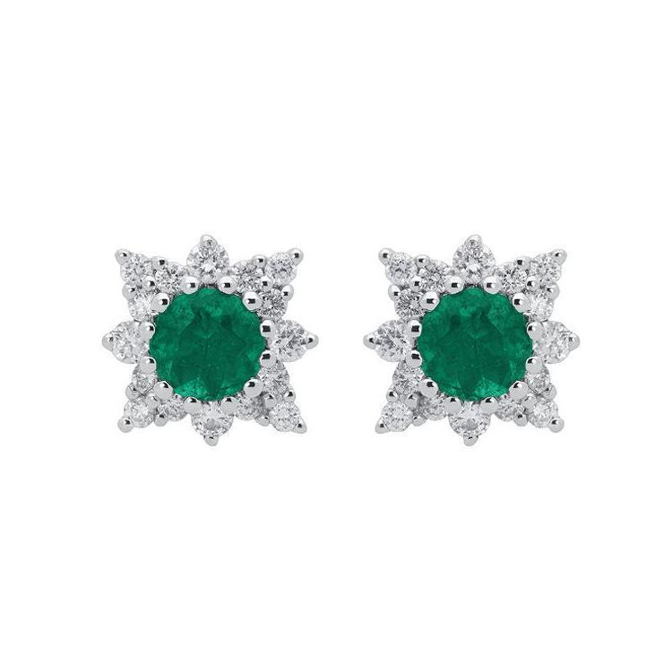 18ct White Gold 0.51ct Emerald Diamond Round Star Stud Earrings