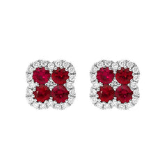 18ct White Gold 0.53ct Ruby Diamond Cluster Earrings