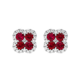18ct White Gold 0.53ct Ruby Diamond Cluster Earrings, 03-13-152.