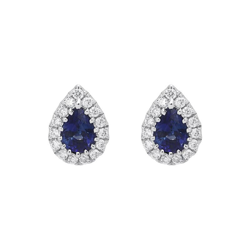 18ct White Gold 0.53ct Sapphire Diamond Pear Cut Cluster Earrings