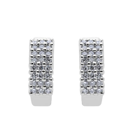 18ct White Gold 0.54ct Diamond Pave Hoop Earrings
