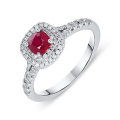 18ct White Gold 0.54ct Ruby Diamond Cushion Cut Ring