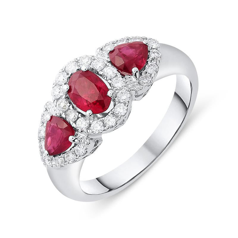 18ct White Gold 0.55ct Ruby Diamond Cluster Trilogy Ring