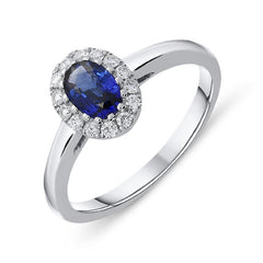 18ct White Gold 0.55ct Sapphire Diamond Halo Ring