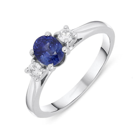 18ct White Gold 0.55ct Sapphire Diamond Oval Cut Trilogy Ring