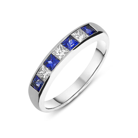 18ct White Gold Sapphire and Diamond Princess Cut Half Eternity Ring