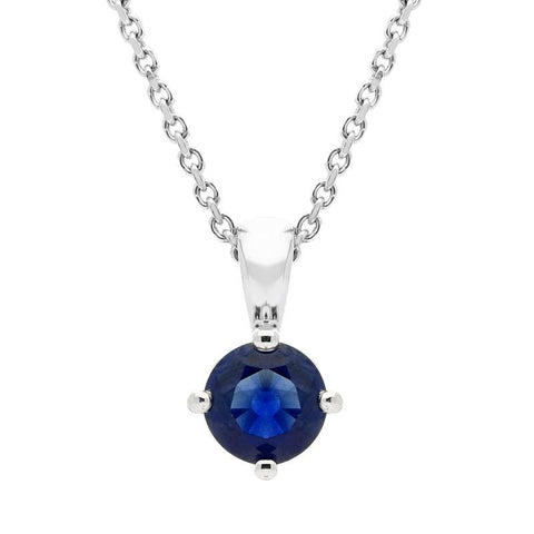 18ct White Gold 0.56ct Sapphire Round Cut Necklace