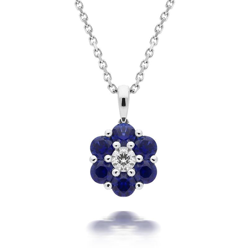 18ct White Gold 0.57ct Sapphire Diamond Floral Cluster Necklace
