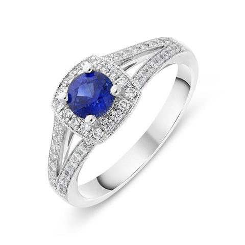 18ct White Gold 0.57ct Sapphire Diamond Milgrain Cluster Ring