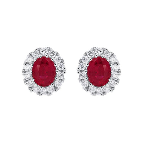 18ct White Gold 0.60ct Ruby Diamond Oval Stud Earrings