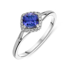 18ct White Gold 0.61ct Tanzanite 0.06ct Diamond Cluster Ring