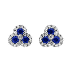 18ct White Gold 0.66ct Sapphire and Diamond Cluster Earrings