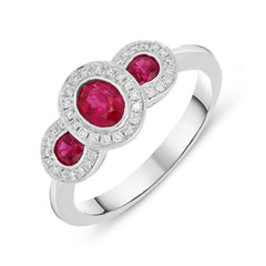 18ct White Gold 0.67ct Ruby Diamond Trilogy Cluster Ring