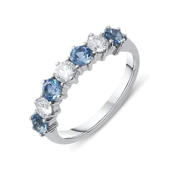 18ct White Gold 0.68ct Aquamarine Diamond Half Eternity Ring