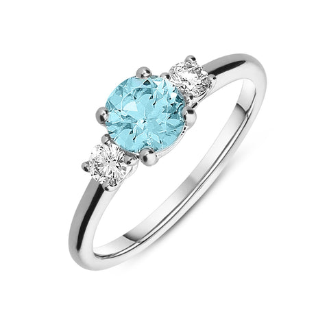 18ct White Gold 0.71ct Aquamarine and Diamond Three Stone Ring