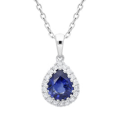 18ct White Gold 0.72ct Sapphire Diamond Pear Cluster Necklace