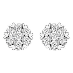 18ct White Gold 0.76ct Diamond Heart Edge Stud Earrings
