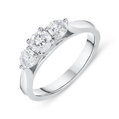 18ct White Gold 0.77ct Diamond Brilliant Cut Trilogy Ring