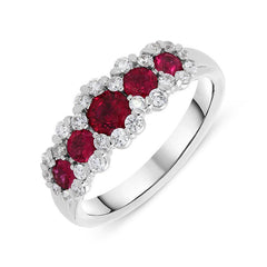 18ct White Gold 0.82ct Ruby Diamond Graduating Cluster Ring