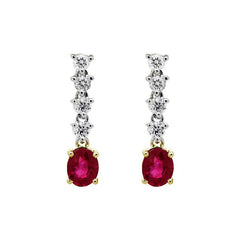 18ct White Gold 0.92ct Ruby 0.31ct Diamond Drop Earrings