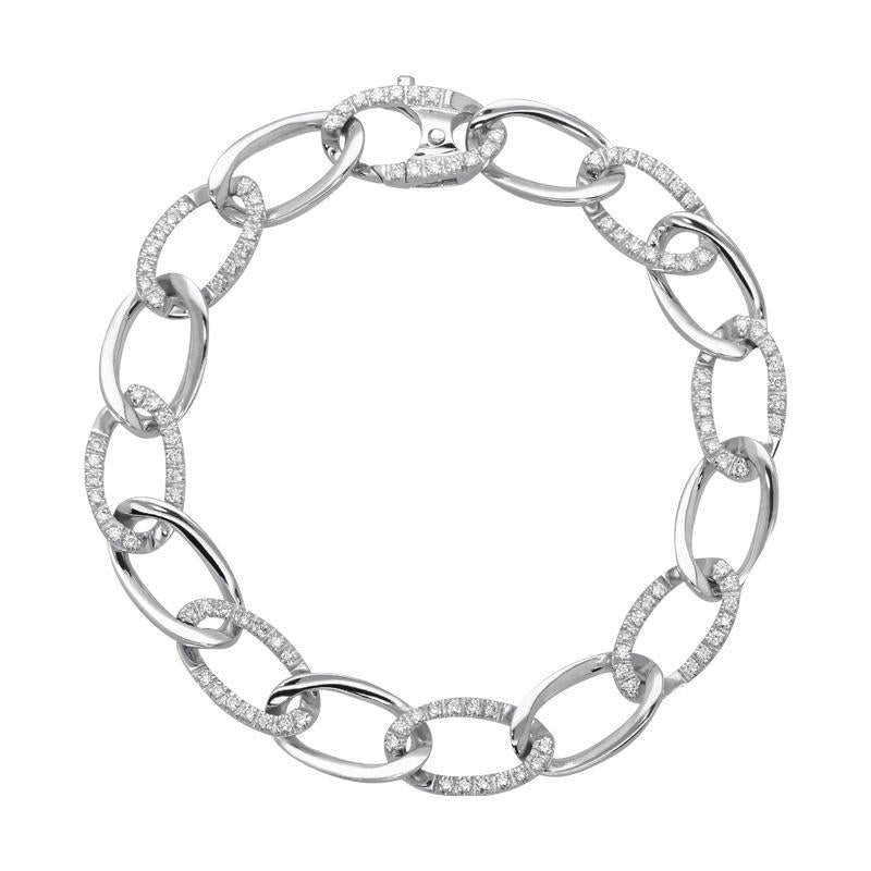 18ct White Gold 0.94ct Diamond Chain Bracelet