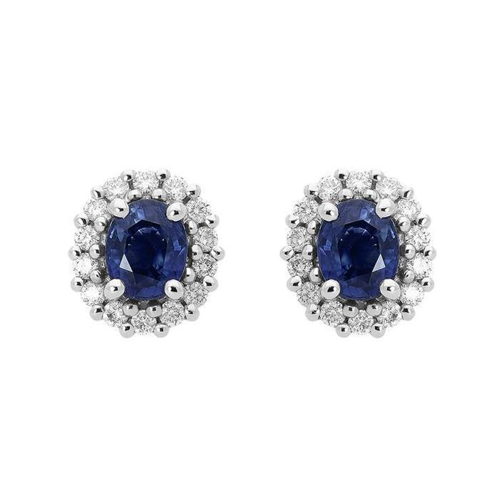 18ct White Gold 0.94ct Sapphire Diamond Oval Cluster Earrings