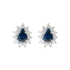 18ct White Gold 0.94ct Sapphire Diamond Pear Cut Cluster Earrings